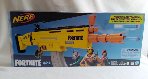 Fortnite AR-L Nerf Elite Dart Blaster Box